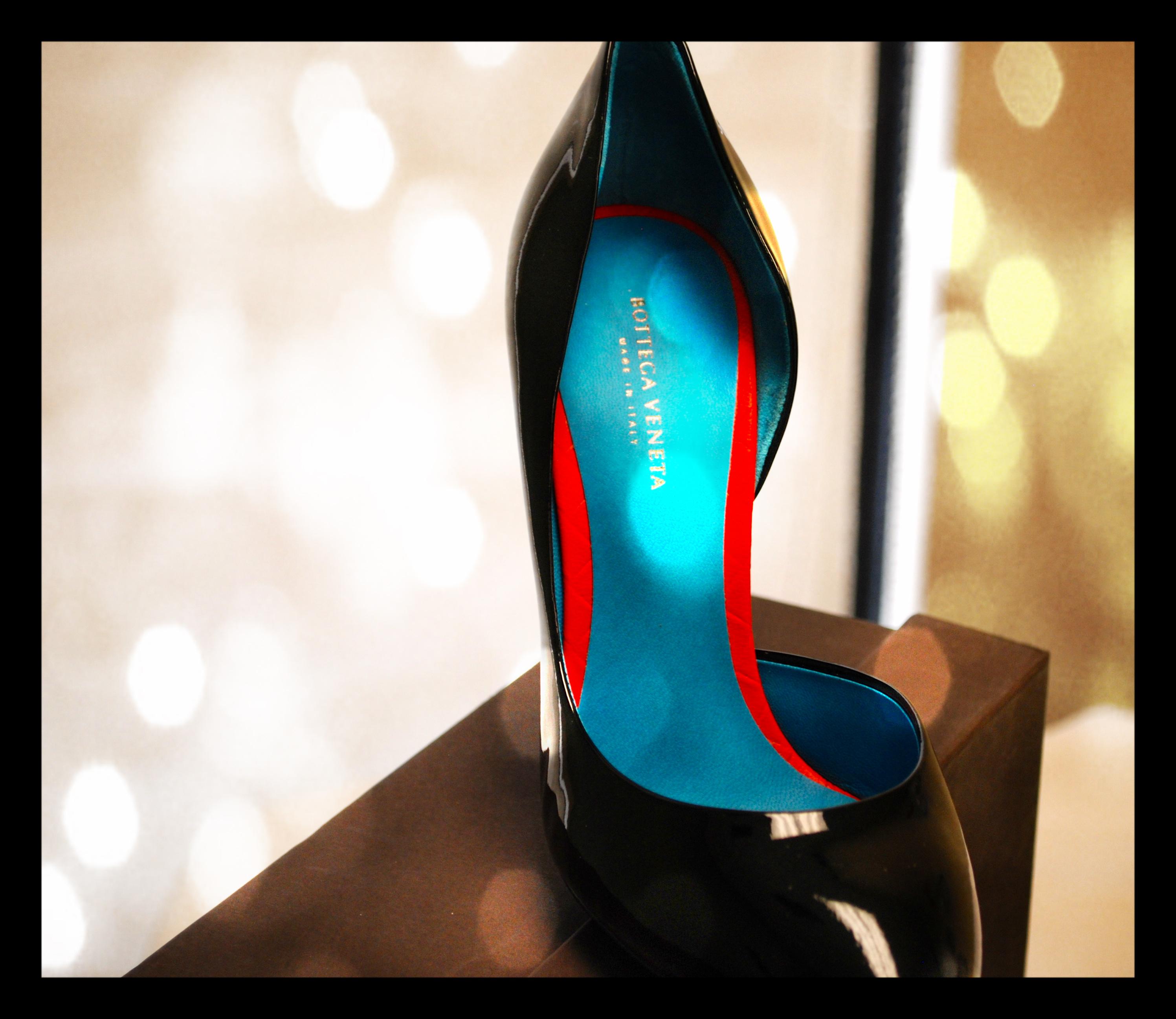 bottega black heels