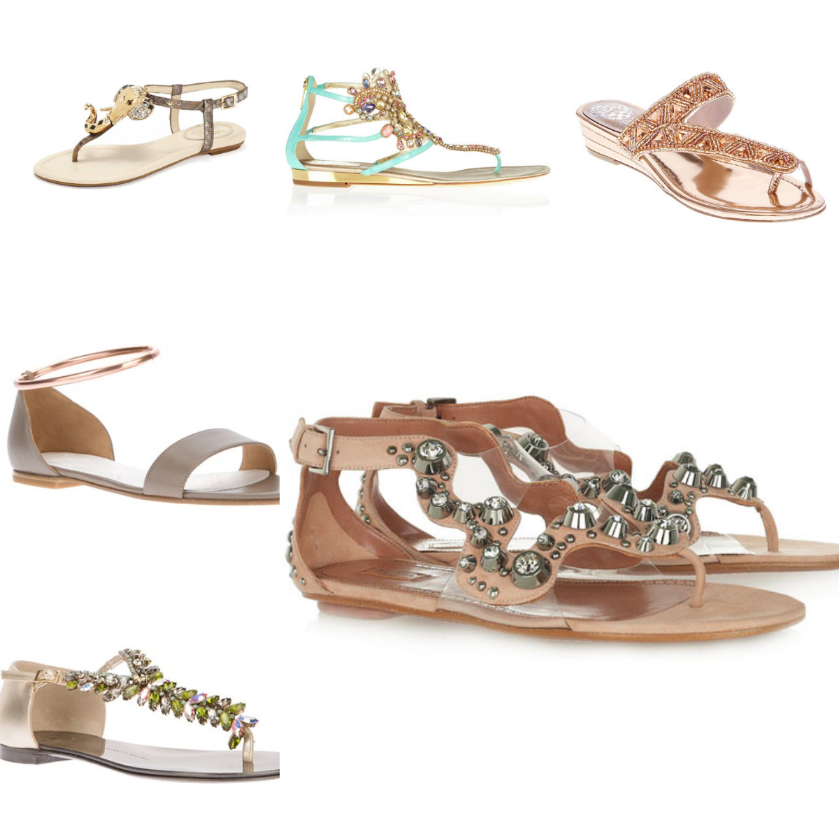 gem sandal collage
