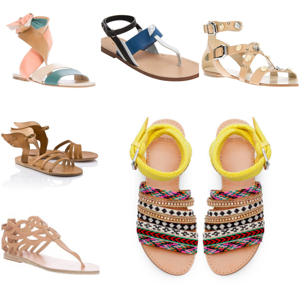 neutral sandal collage