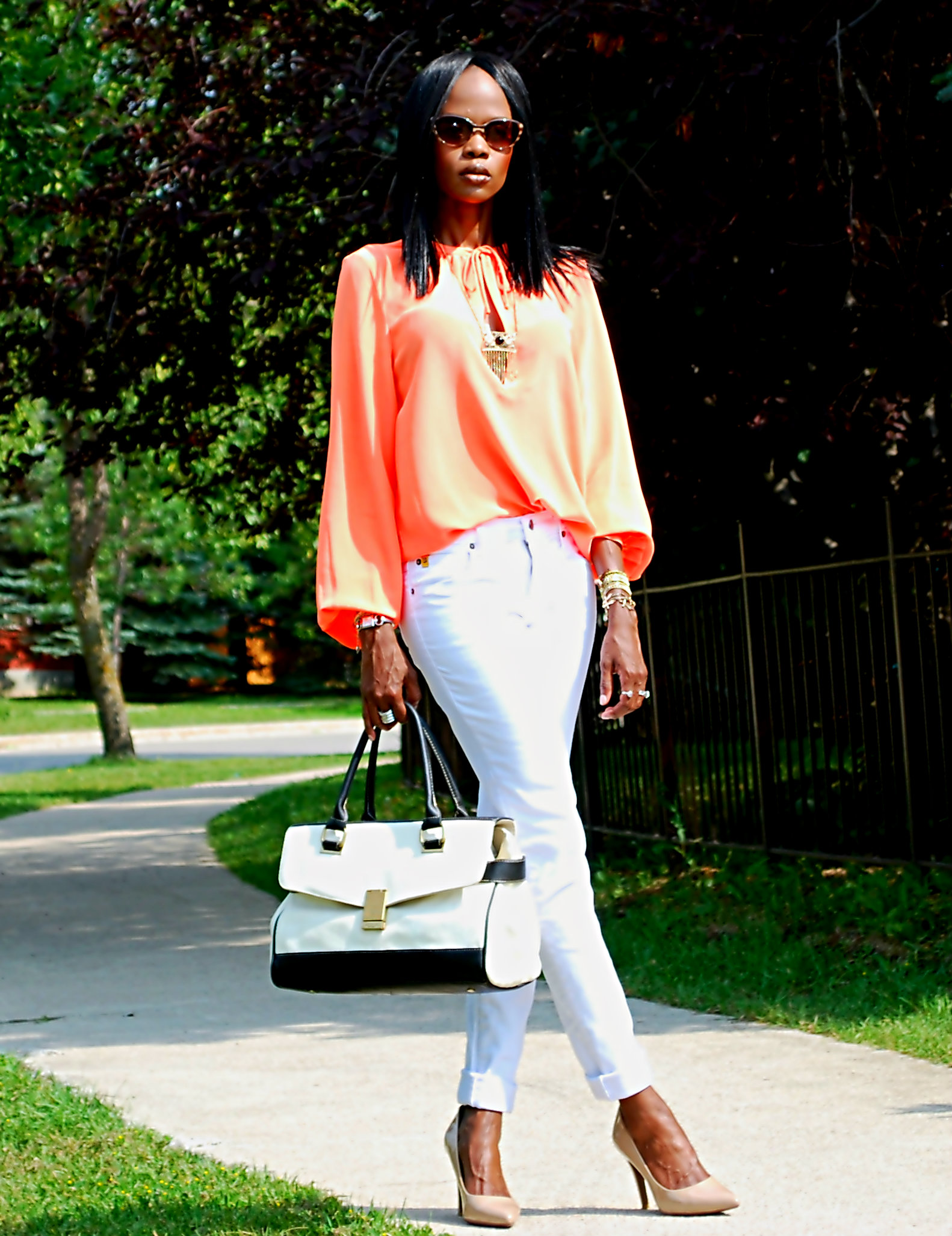 orange and white ootd