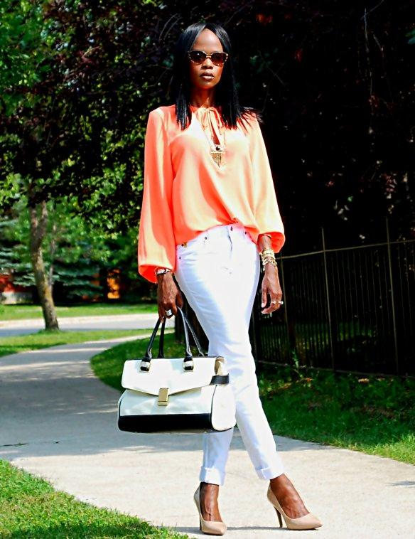 orange and white ootd