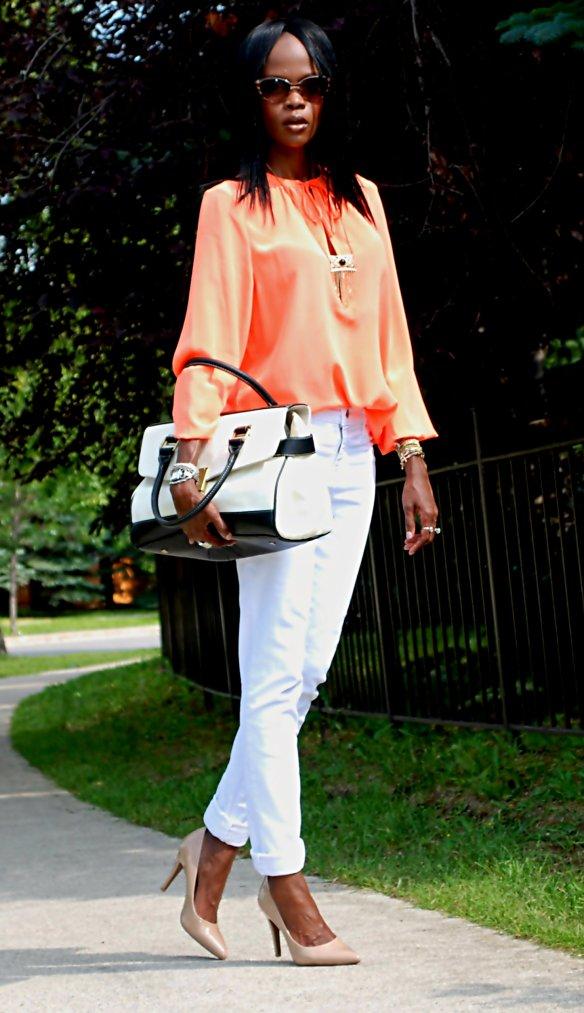 white and orange ootd 6