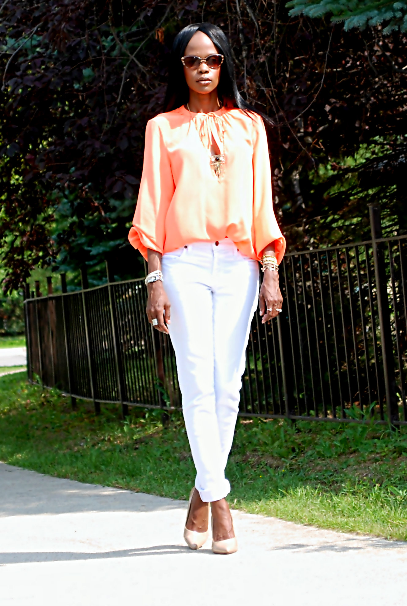white and orange ootd 8