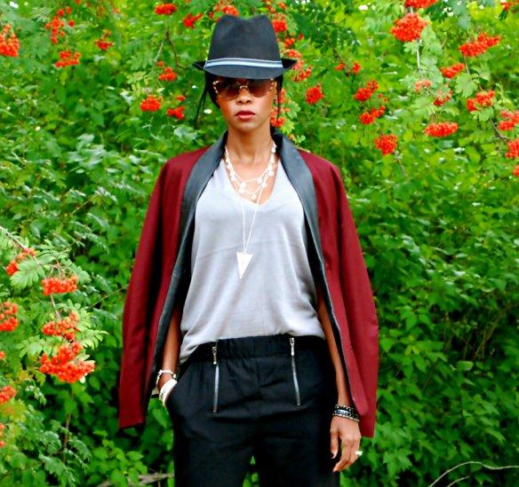 Burgundy blazer & zipper pants ootd 17