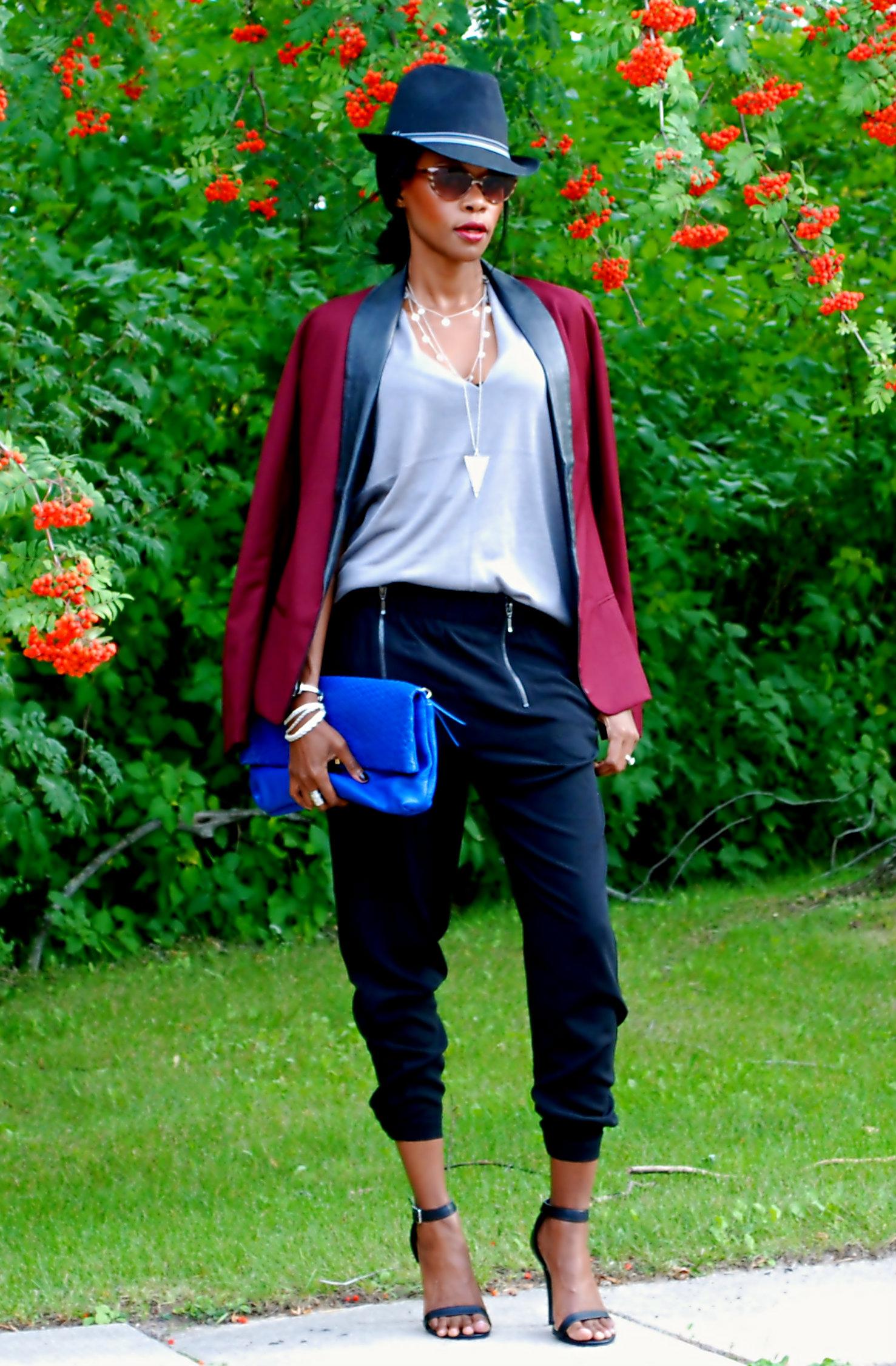Burgundy blazer & zipper pants ootd 2