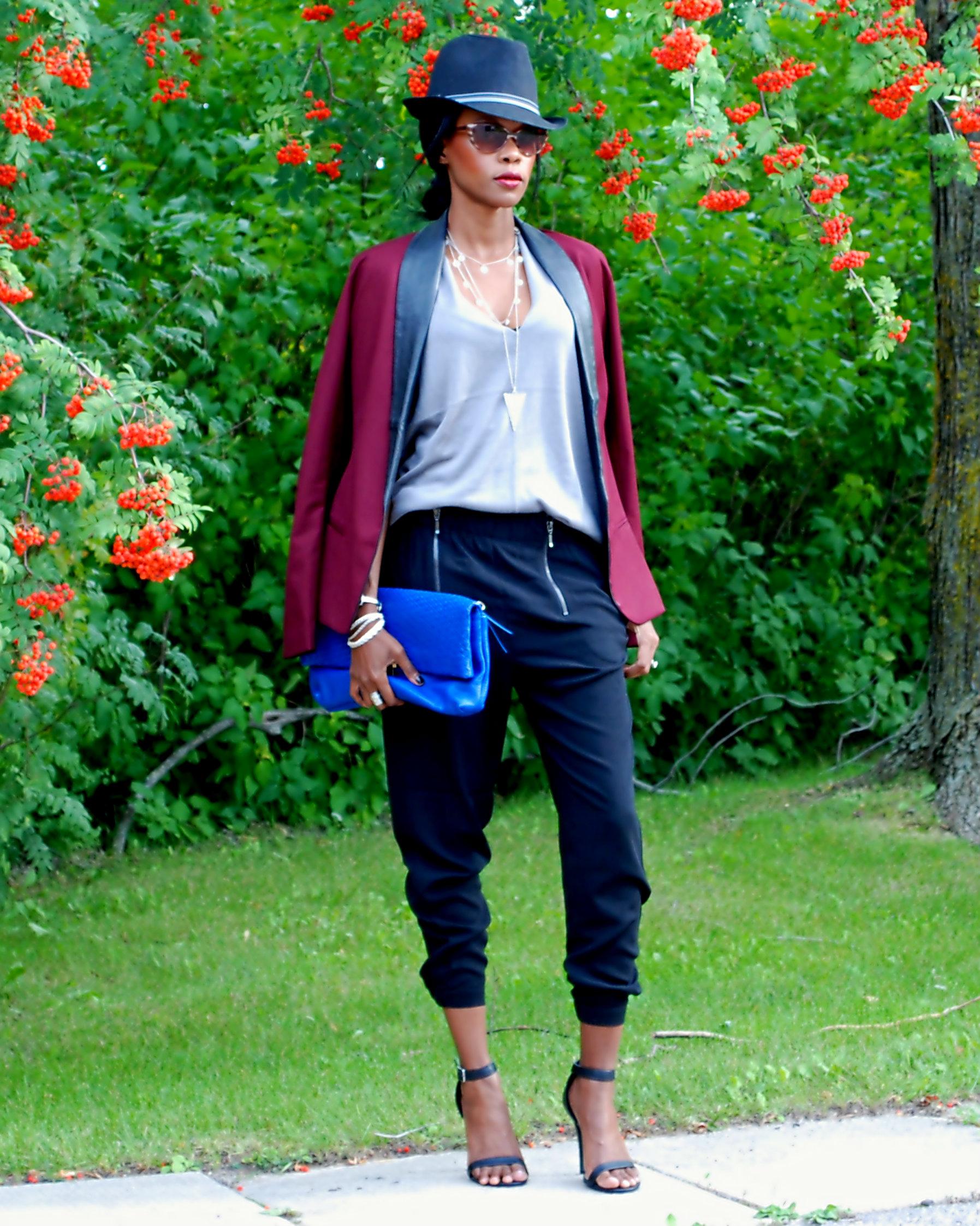 Burgundy blazer & zipper pants ootd