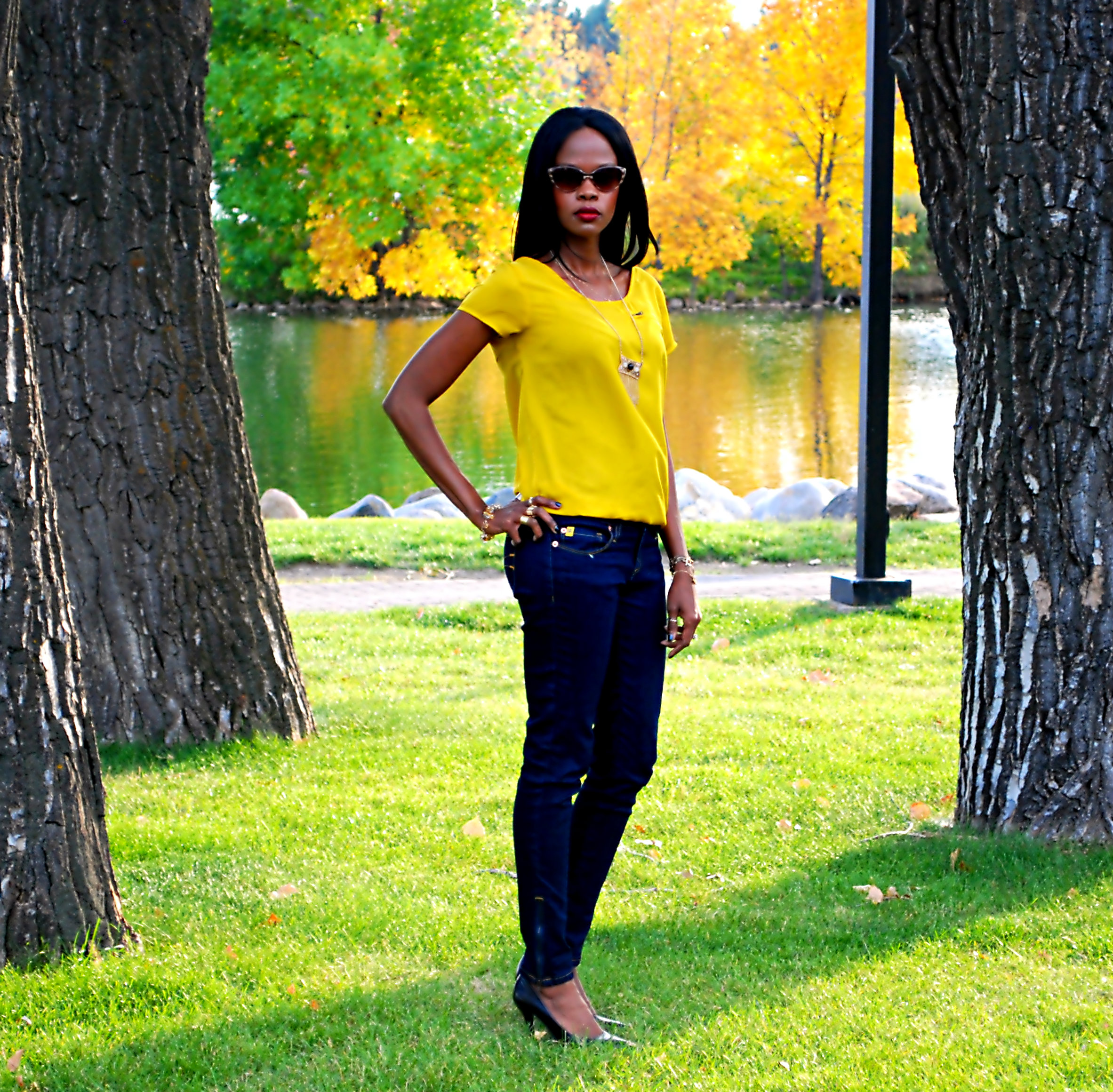yellow top ootd 13