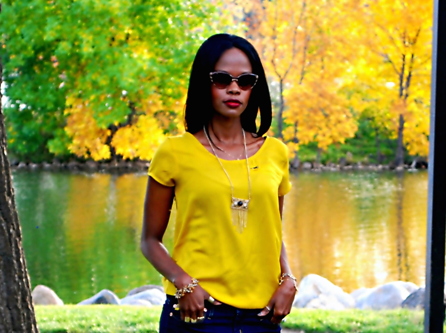 yellow top ootd 20