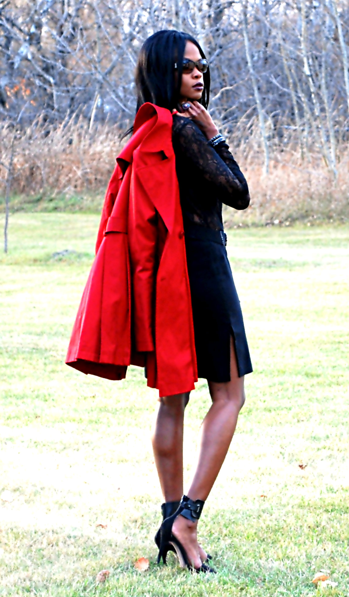 Red Trench ootd 13