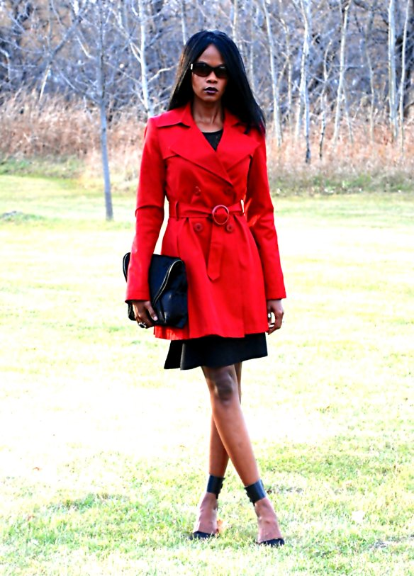 Red Trench ootd 15