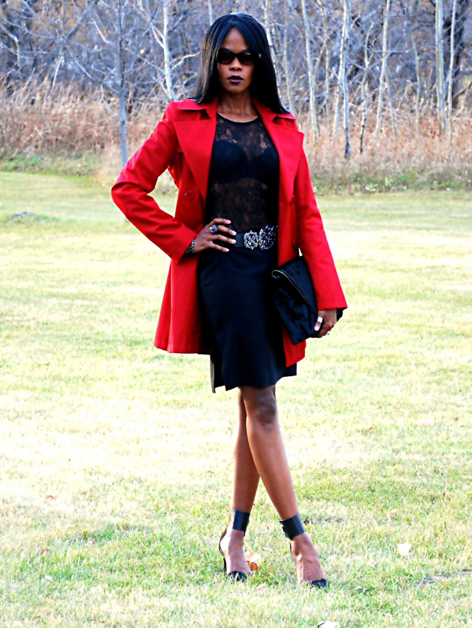 Red Trench ootd 5