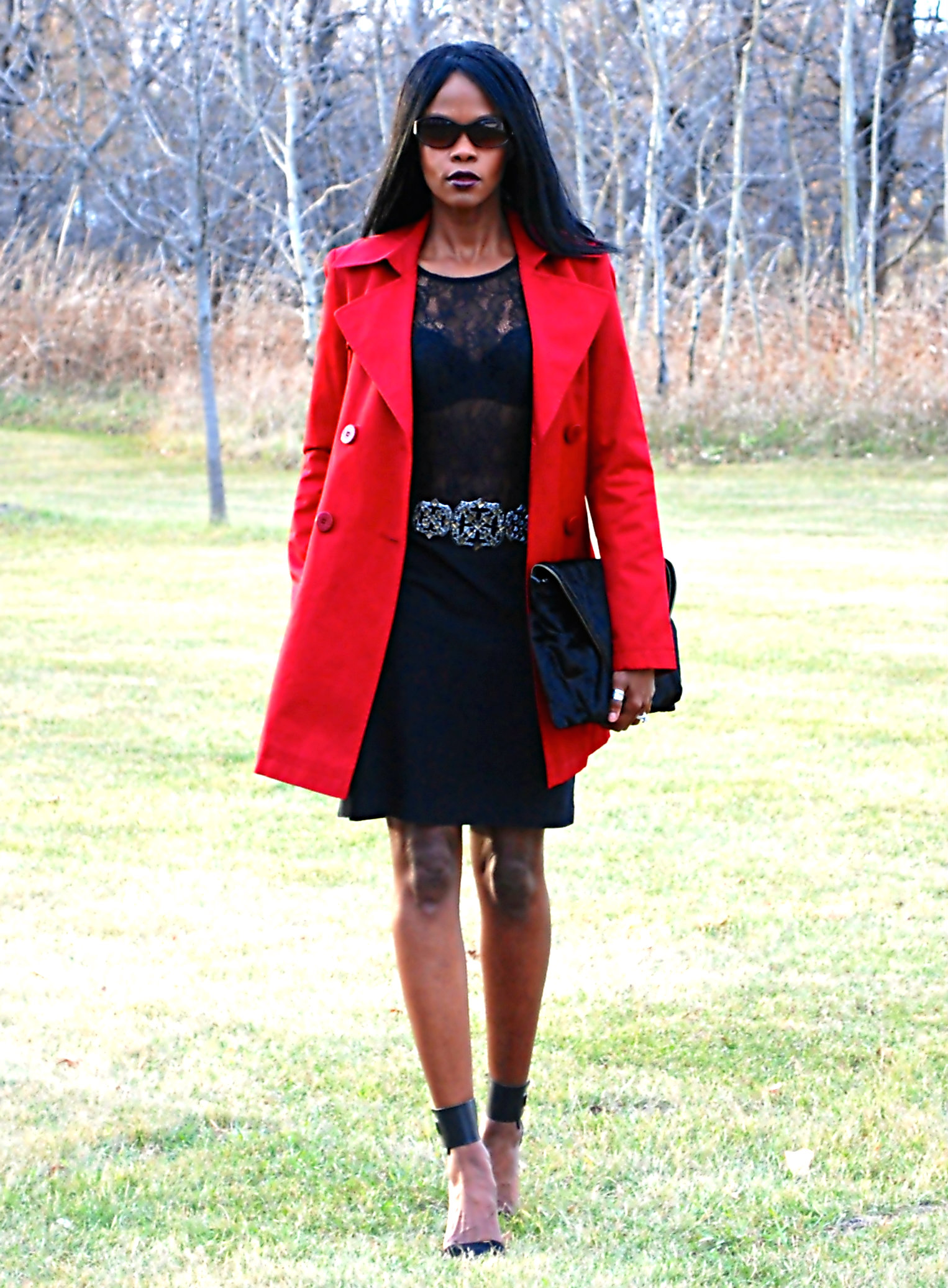 Red Trench ootd 6