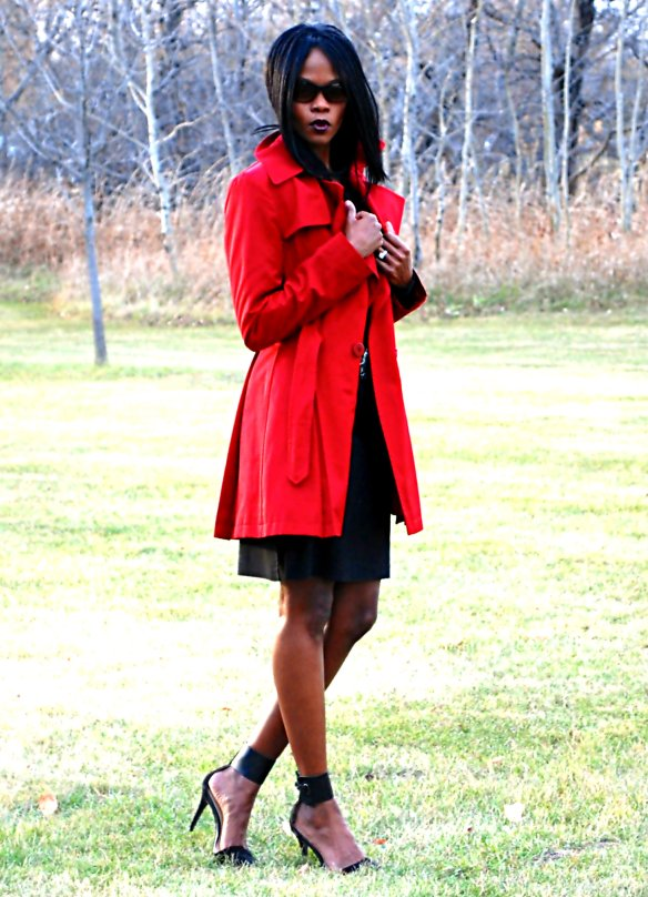 Red Trench ootd 9