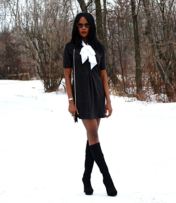Black bow dress ootd 3