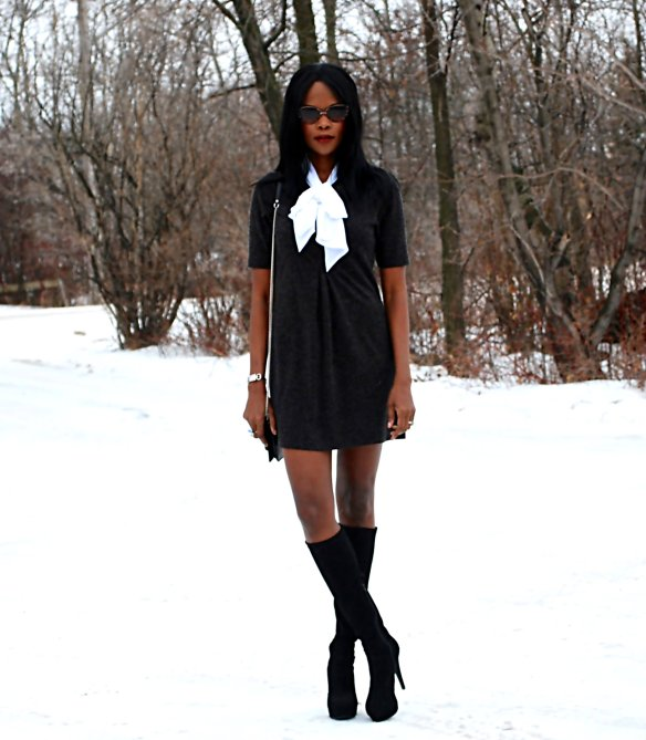 Black bow dress ootd 4