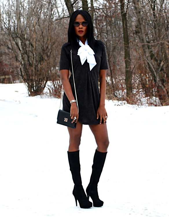 Black bow dress ootd 5