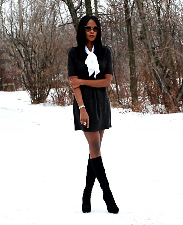 Black Bow dress ootd 8