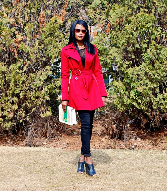 Red Trench ootd 4